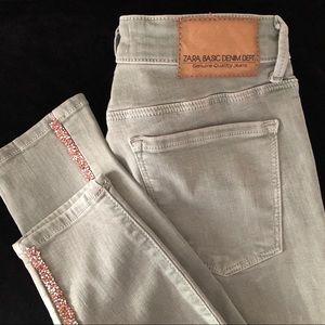 Zara Jeans - Zara Sparkly Side Stripe Mid-Rise Skinny Jeans